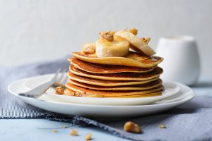 Homemade Pancakes with Banana, Nuts
