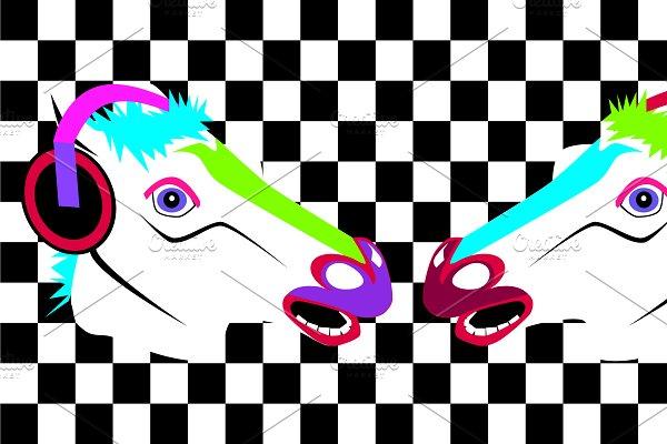 Pop art horses heads neon modern