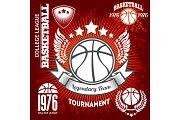Basketball championship logo set and