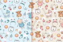 Baby design. Seamless patterns.