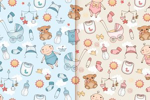 Baby design. Seamless patterns.