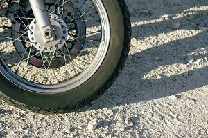 Motorbike wheel on the road