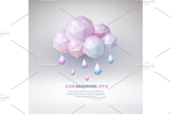 Poligonal cloud. Rain. - Illustrations