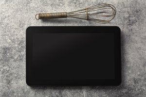 Digital tablet, with whisk and antiq