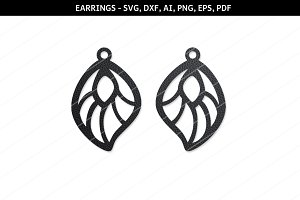 Drop earrings svg,Cricut files,dxf