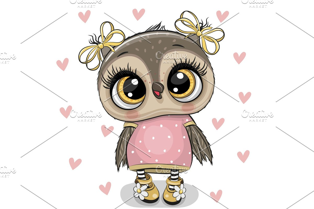 Cartoon Owl on a hearts background in Illustrations - product preview 8