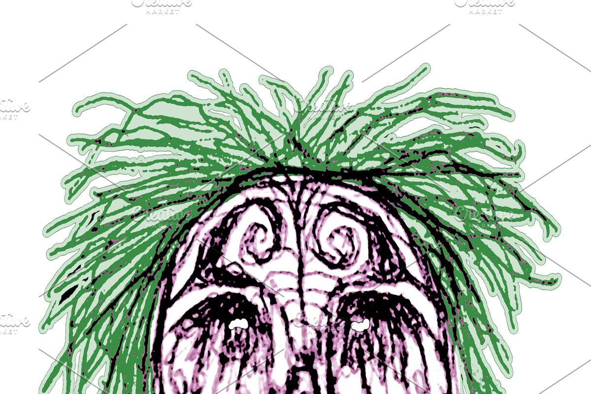 Creepy Zombie Head Illustration in Illustrations - product preview 8