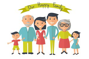 Happy family. Vector, flat style