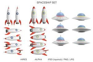 Spaceship & UFO Set High Quality