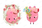 Piggy Pig in Flowers Cartoon
