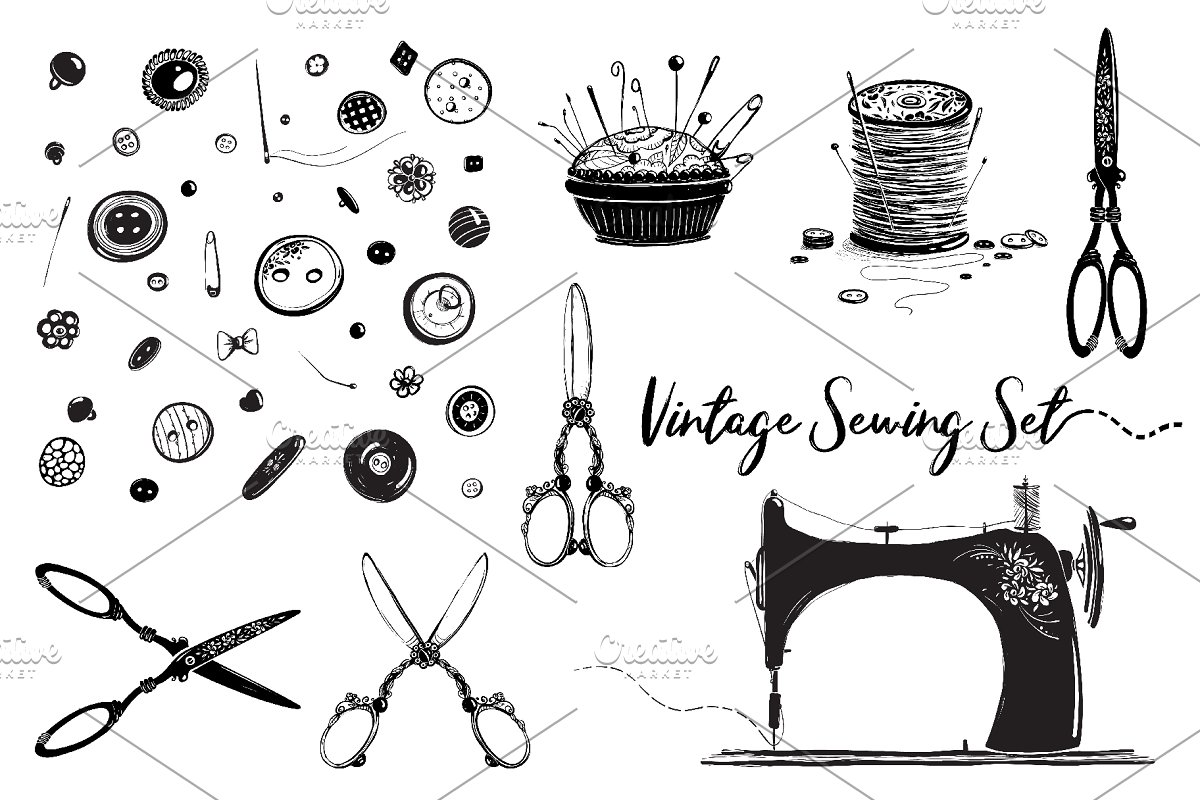 Sewing Hobby Vintage Set in Illustrations - product preview 8