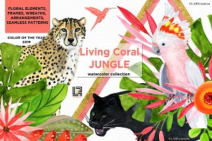 Living Coral Jungle. Watercolor