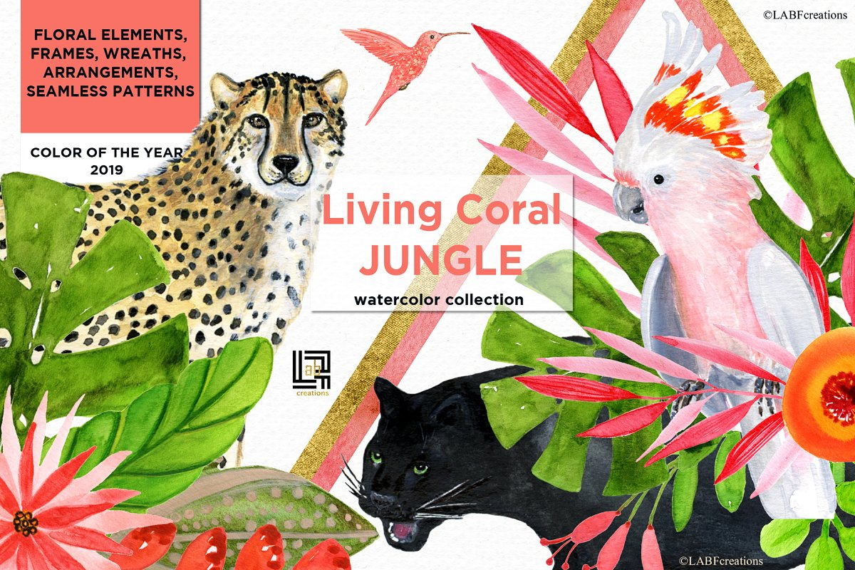 Living Coral Tropical Watercolor in Illustrations - product preview 8