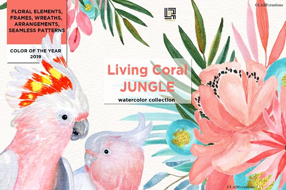 Living Coral Tropical Watercolor in Illustrations - product preview 1