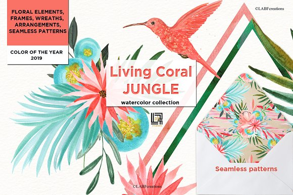 Living Coral Tropical Watercolor in Illustrations - product preview 2