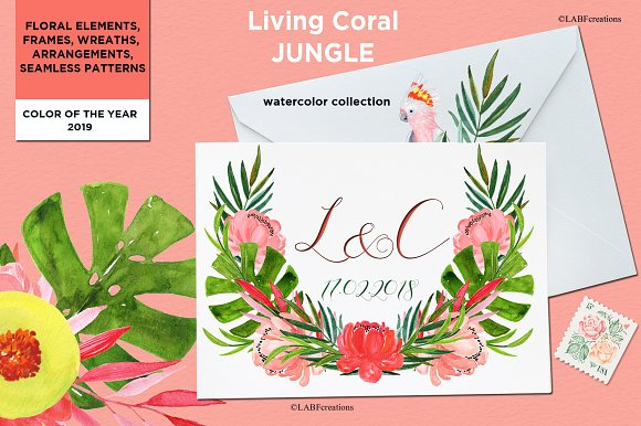 Living Coral Tropical Watercolor in Illustrations - product preview 3