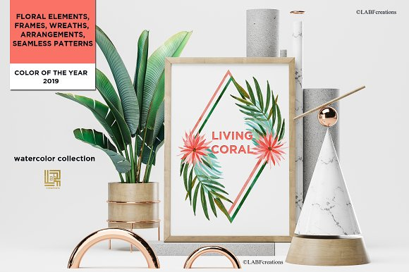 Living Coral Tropical Watercolor in Illustrations - product preview 5