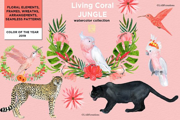 Living Coral Tropical Watercolor in Illustrations - product preview 6