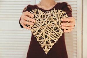 Closeup of heart-shape handmade