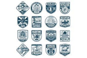 Marine heraldry isolated icons