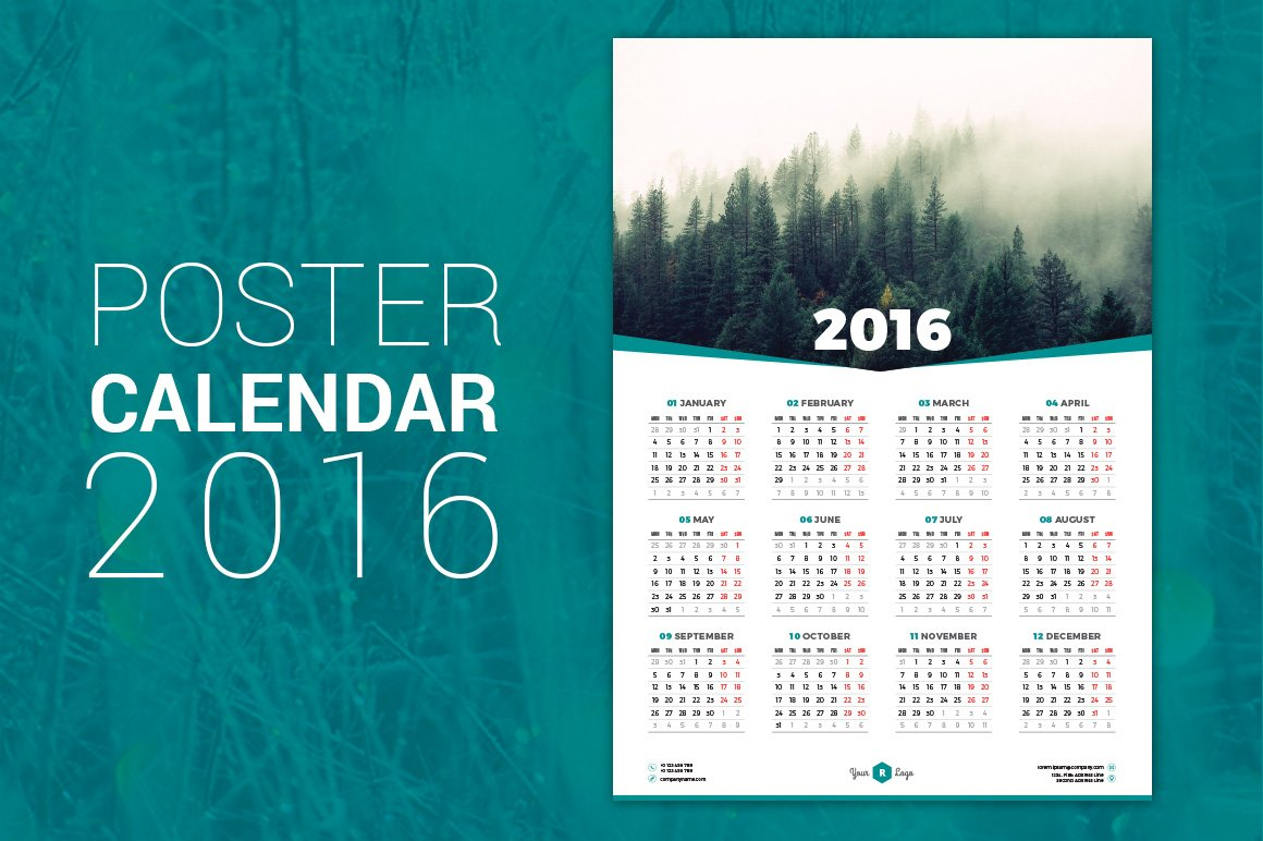 Calendar Poster 2016 : Poster calendar stationery templates creative market