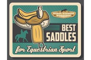 Saddles, equestrian sport equipment