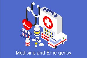 Medical instruments 3d isometric