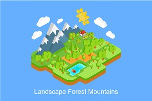 Landscape mountains and forest 3D