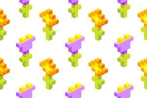 Seamless isometric pixel flowers