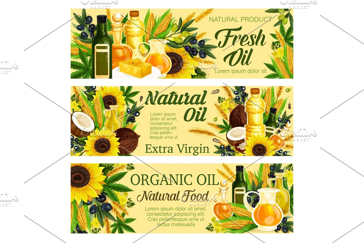 Virgin oil, organic plants, butter