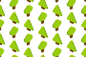 Seamless isometric pixel forest