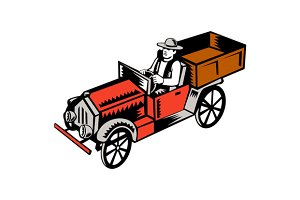 Vintage Pick Up Truck Driver Woodcut