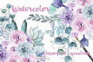 Watercolor blue succulents
