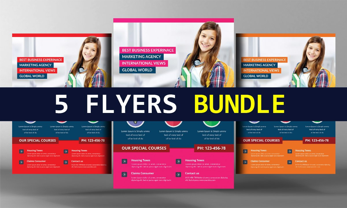 school education flyer photos graphics fonts themes templates 5 school education flyers bundle
