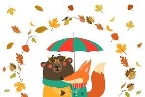 Fox and bear hugging under umbrella