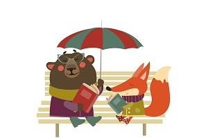 Fox and bear reading books on bench