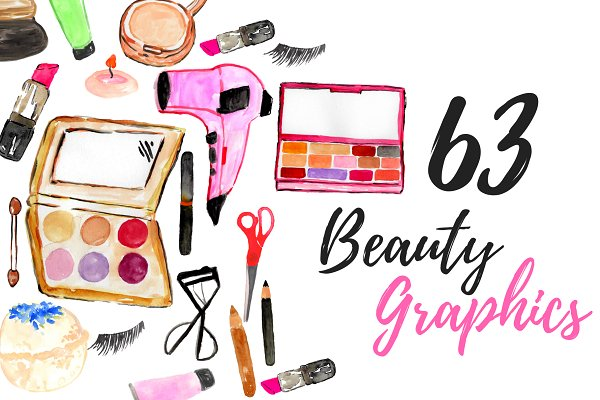 63 Watercolor Beauty Clipart Set