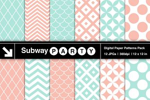 Mint & Coral Retro Geometric Papers