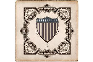 Vintage Style card with USA shield.