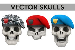 Human skulls with military berets