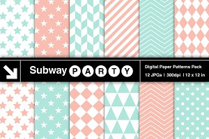 Mint & Coral Pink Geometric Papers
