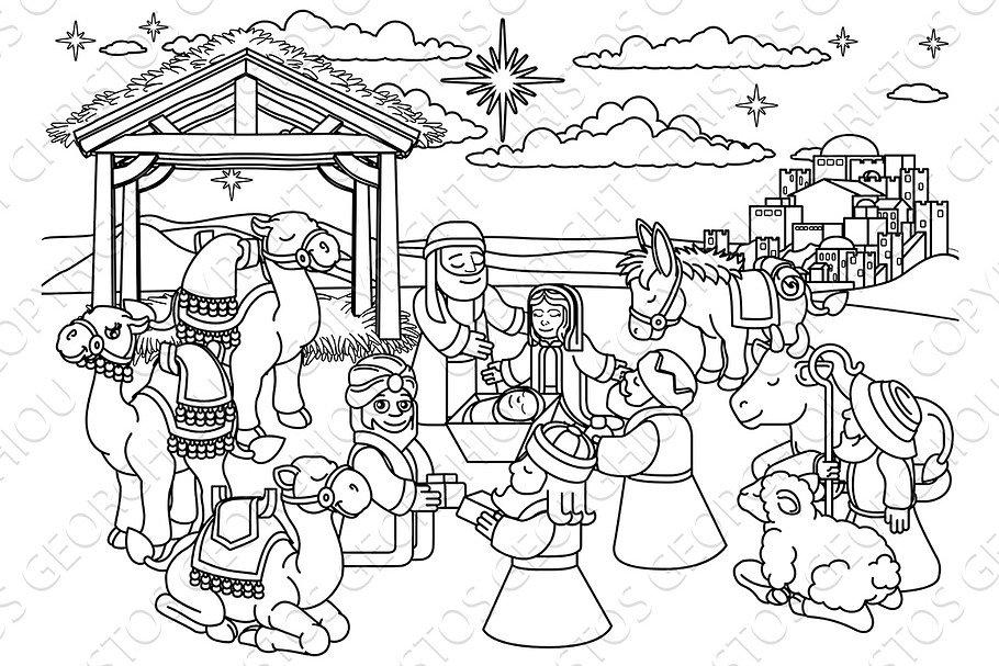 Nativity Scene Christmas Cartoon | Custom-Designed ...
