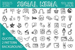 Social media doodle icons,quotes