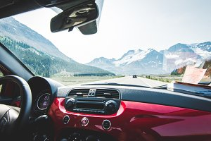 View of the Mountains from a Car