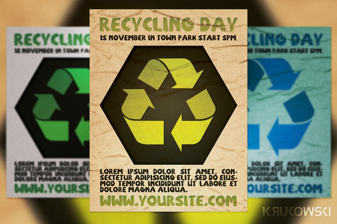 recycling day flyer flyer templates creative market