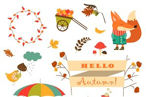 Cartoon characters, autumn elements