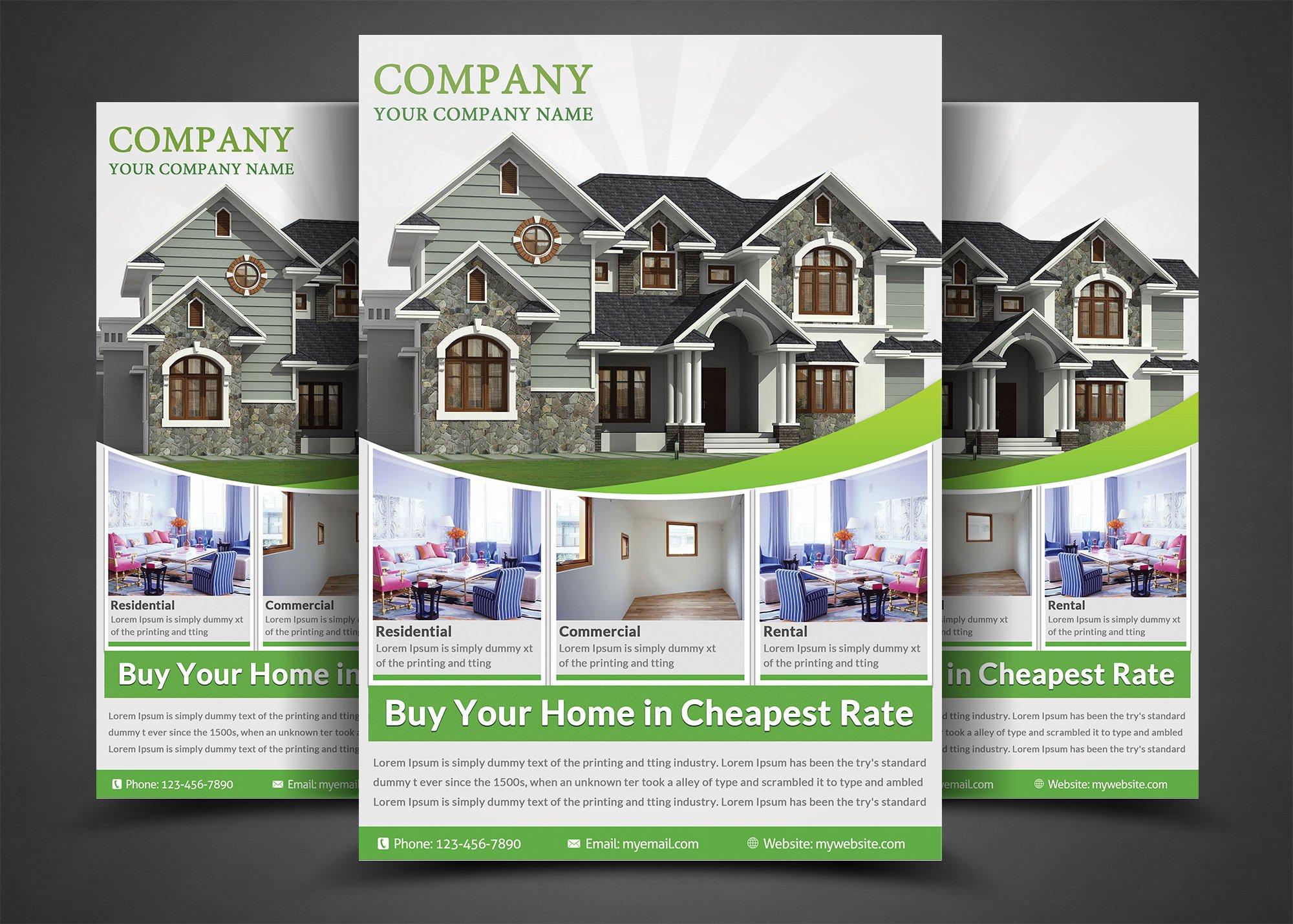 Real Estate Flyer Template ~ Flyer Templates ~ Creative Market