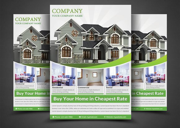 Real Estate Flyer Template Flyer Templates Creative Market - Real estate advertisement template