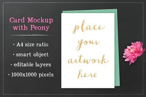 Card Mockup with Peony