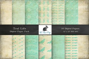 Teal & Cream Background Patterns